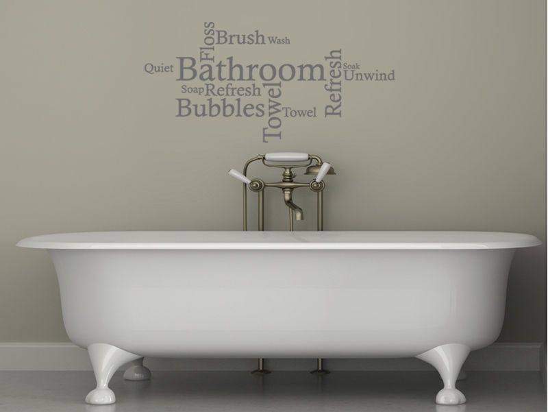 Bathroom Wall Quote   Word Cloud, Wall Art Sticker, Decal, Modern Transfer  ... Part 68